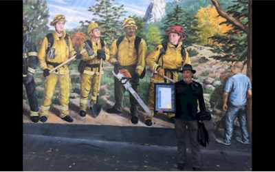 """Heroes Mural"" honoring firefighters who battled the Cranston Fire"